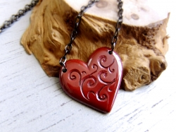 Bright Red Heart in arabesque