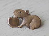 Capybara pup and apple pins